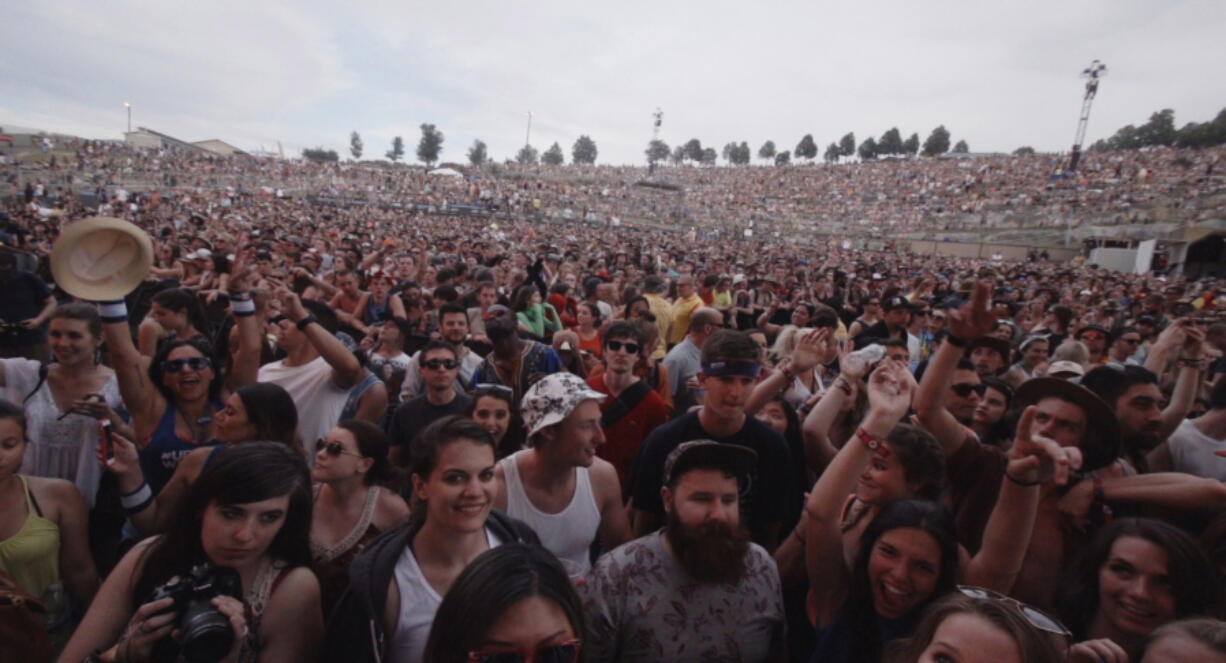 A happy crowd waits for the show to begin at the Gorge Amphitheatre.