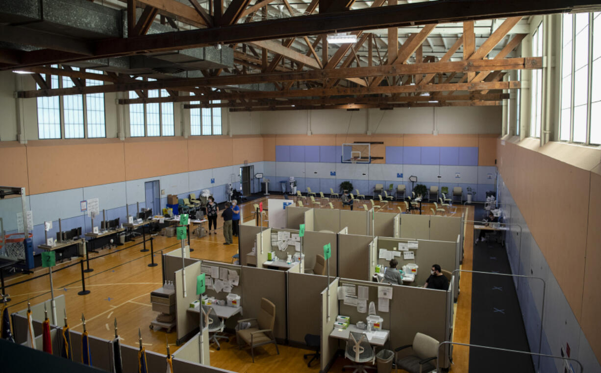 The  Vancouver campus of the VA Portland Health Care System gymnasium played host to a COVID-19 vaccination center on June 29. Like the general population, fewer veterans are attending vaccination clinics.