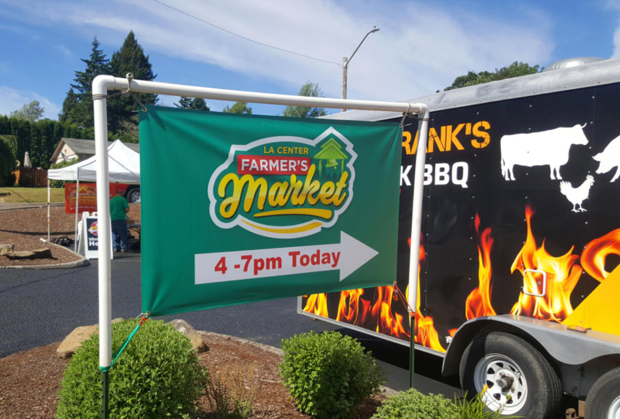 The new La Center Farmers Market is held every Thursday from 4 to 7 p.m., complete with barbecued ribs from Smokin' Franks.