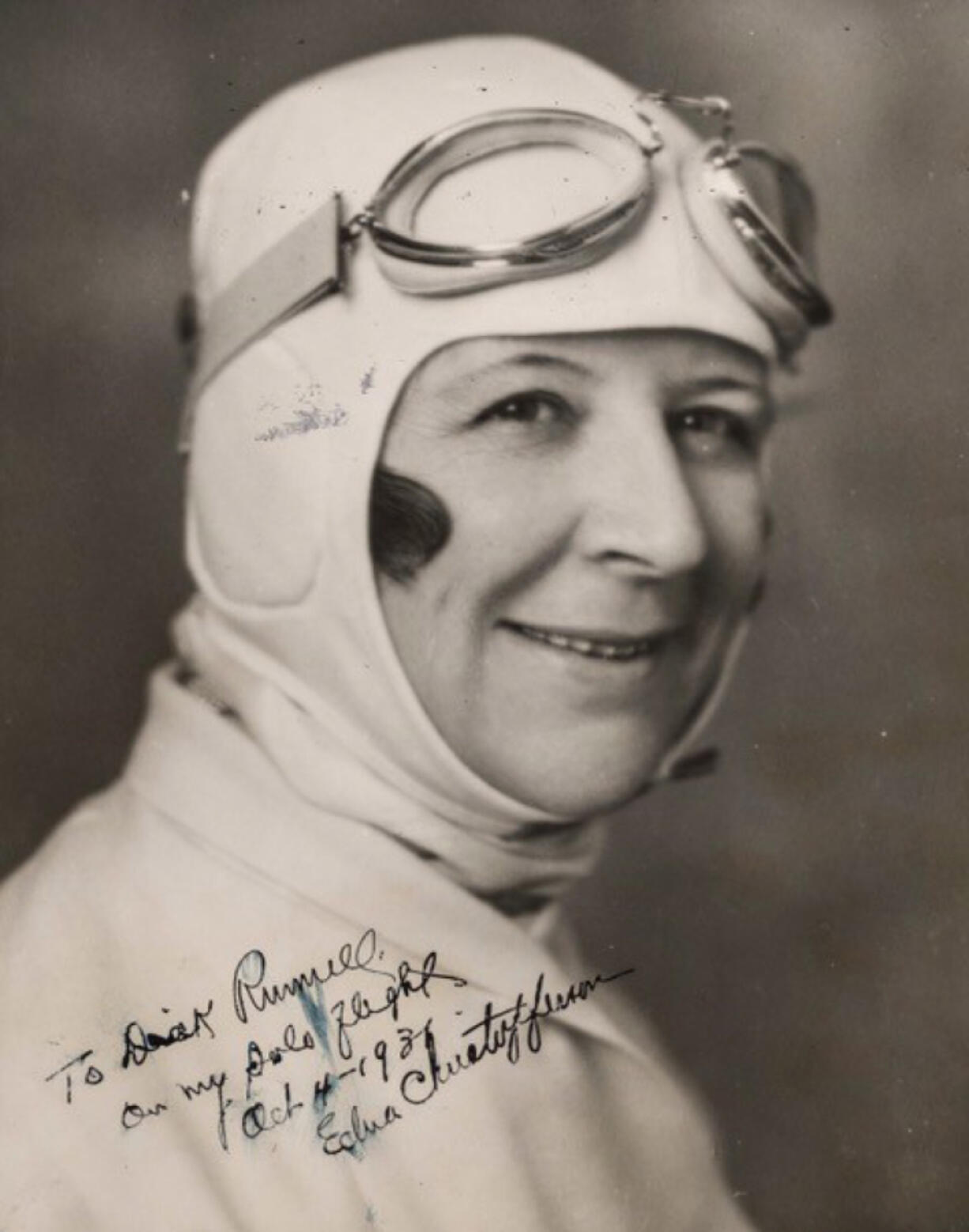 Edna Christofferson watched her daredevil husband fly off the Multnomah Hotel and land at the Vancouver Barracks successfully, only to later watch him fall 100 feet from the sky to his death while testing an experimental plane. She delayed getting her own pilot's license until late 1931. A crack shot, she was an advocate of women's self-defense using firearms. She was among the first X-ray technicians in the area and founded the Women's National Aeronautic Association to promote women's flying.