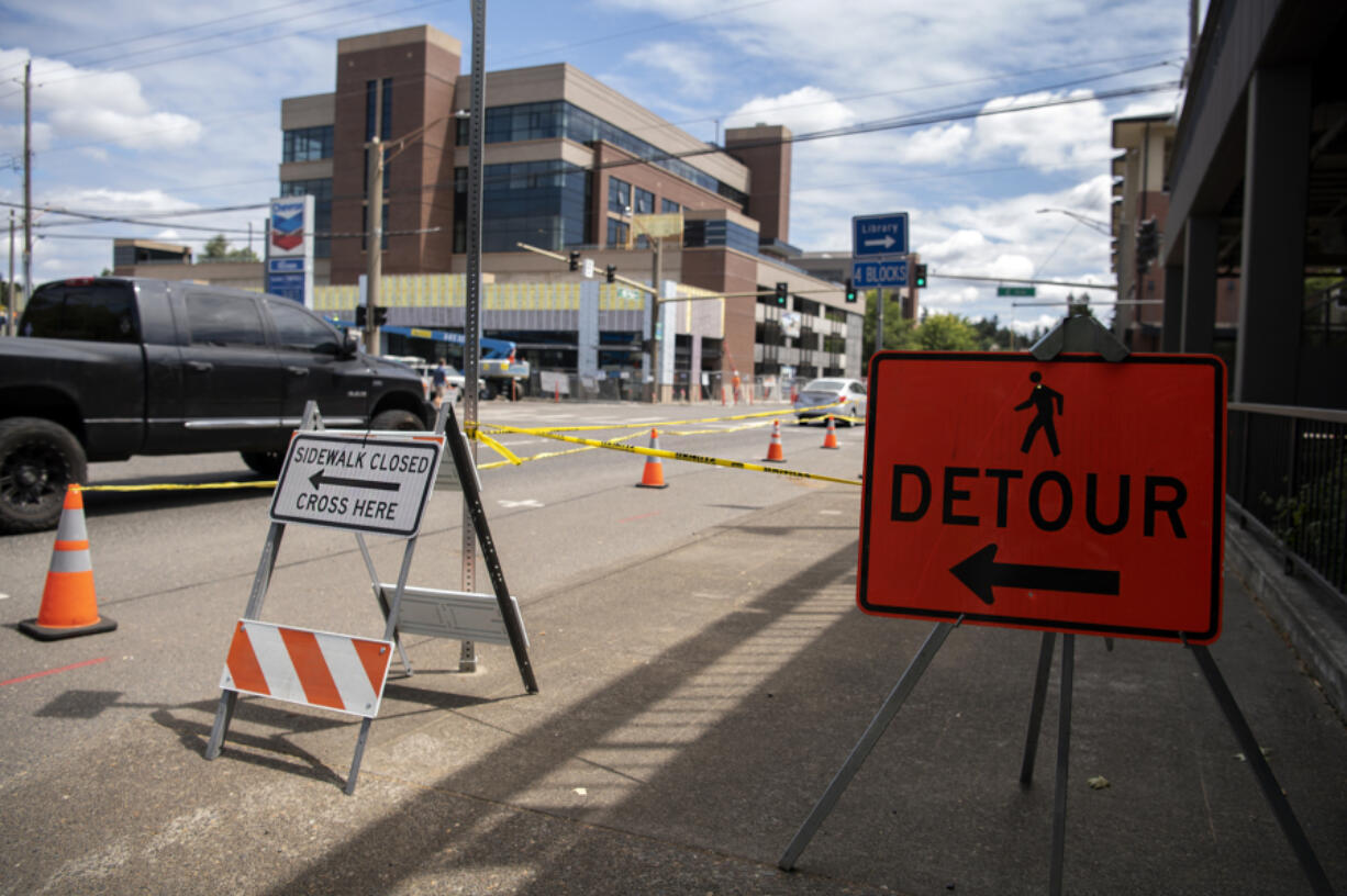 Signs and caution tape are common sights along the Mill Plain corridor lately due to an ongoing WSDOT project aimed at setting up the corridor to better accommodate freight traffic and adding new bike and pedestrian infrastructure.