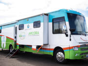 The SmileMobile, a mobile dental van that offers dental services to people who have trouble accessing dental care, is parked at the Cowlitz Indian Tribal Health Clinic in Longview.