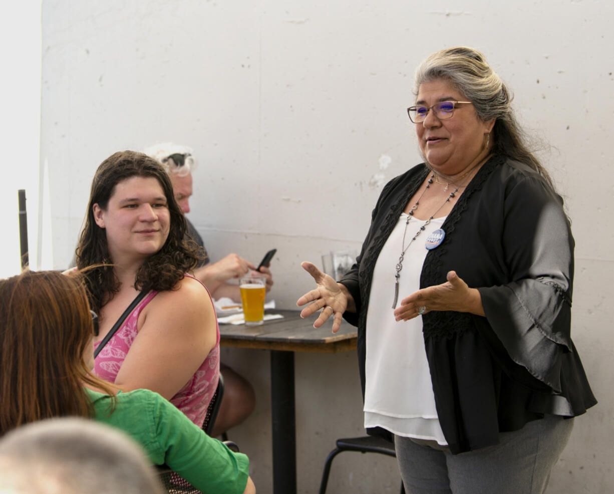 """Vancouver City Council candidate Diana Perez speaks at the """"Ballots and Brews"""" event July 23 in downtown Vancouver."""