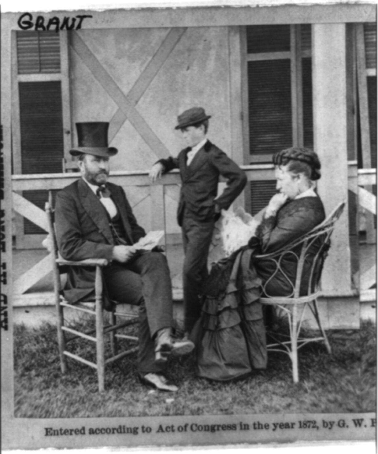 President Ulysses S. Grant on vacation in Long Branch, N.J., about 1873 with his family. He's seated on a porch with his wife, Julia, and son, Jesse. When he arrived in Vancouver six years later, he appeared paunchier, but he and his wife would likely have been dressed the same.