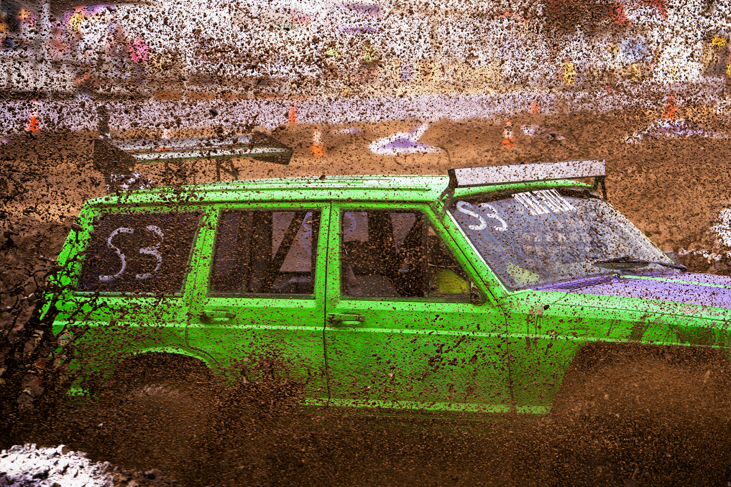 A jeep powers through a sheet of mud at the Tuff Trucks event on Friday, July 30, 2021, at the Clark County Fairgrounds. Tuff Trucks was the first in Clark County Event Center's Family Fun Series, which continues through Aug. 15.