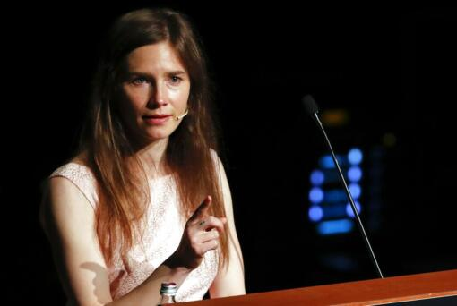 Amanda Knox speaks at a Criminal Justice Festival at the University of Modena, Italy, Saturday, June 15, 2019. Knox, a former American exchange student who became the focus of a sensational murder case, arrived in Italy Thursday for the first time since an appeals court acquitted her in 2011 in the slaying of her British roommate.
