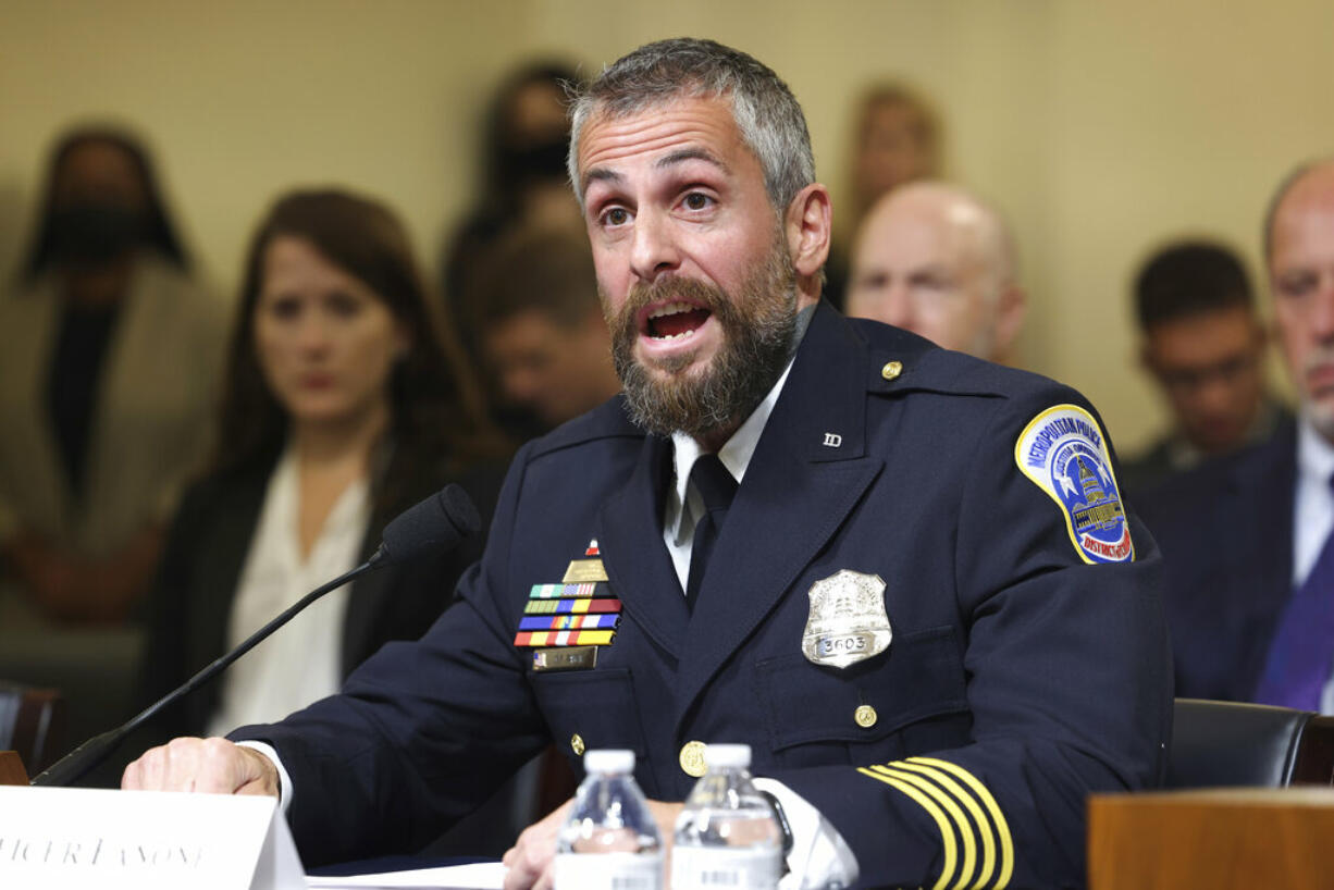 Washington Metropolitan Police Department officer Michael Fanone testifies during the House select committee hearing on the Jan. 6 attack on Capitol Hill in Washington, Tuesday, July 27, 2021.