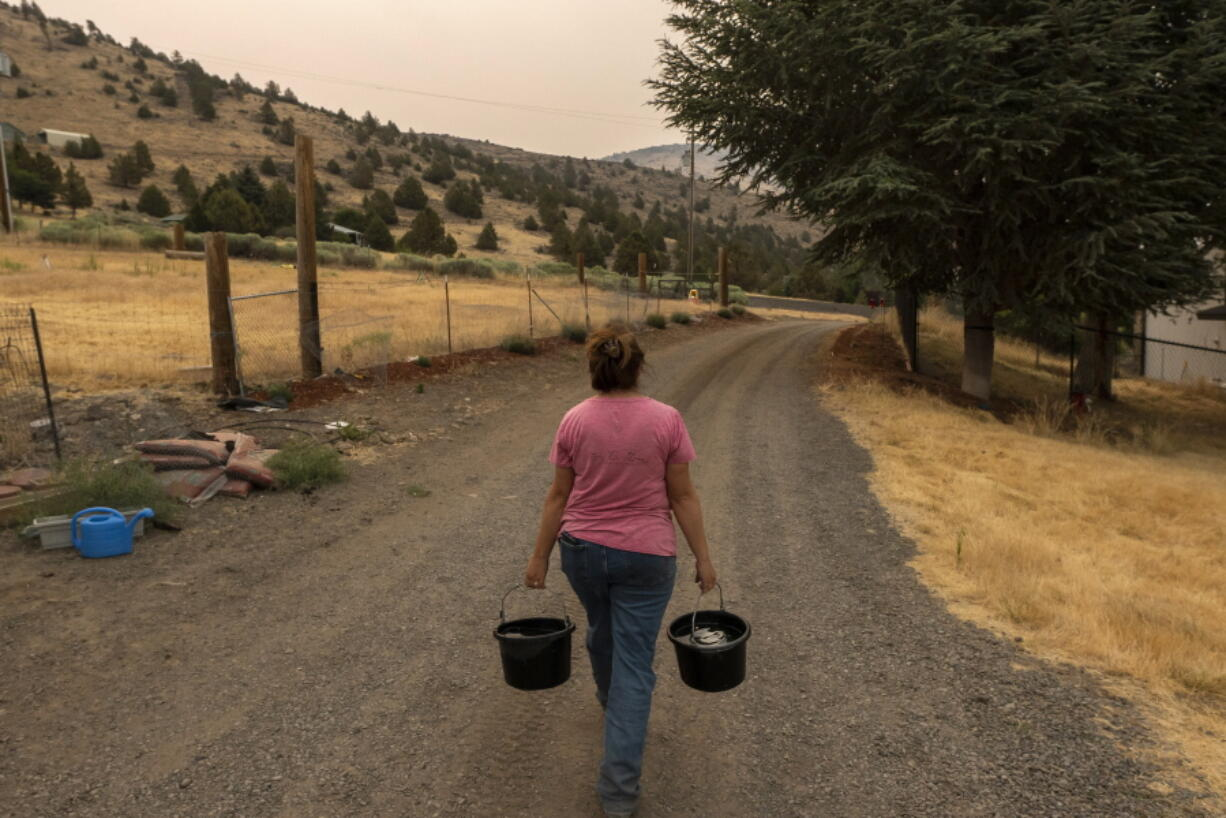 Misty Buckley carries dirty water from her animals' pens to water plants in her front yard, Saturday, July 24, 2021, in Klamath Falls, Ore. The Buckley's house well ran dry in May following an historic drought in southern Oregon. Dozens of domestic wells have gone dry in an area near the Oregon-California border where the American West's worsening drought has taken a particularly dramatic toll.