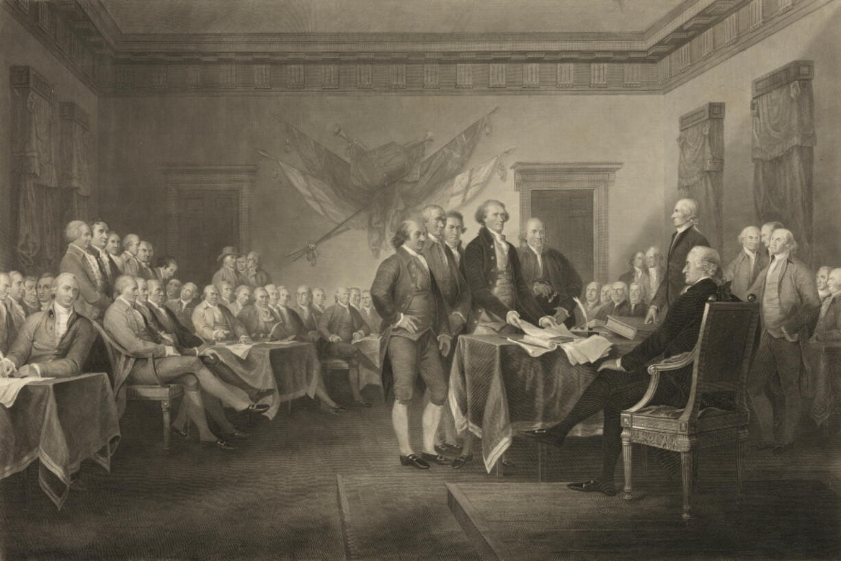 """This image shows an 1876 engraving titled """"Declaration of Independence, July 4th, 1776"""" made available by the Library of Congress. On that day, the Continental Congress formally endorsed the Declaration of Independence. Celebrations began within days: parades and public readings, bonfires and candles and the firing of 13 musket rounds, one for each of the original states. Nearly a century passed before the country officially named its founding a holiday. (J. Trumbull, W.L."""