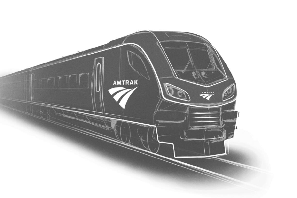 This image provided by Siemens shows a rendering of one of the new Amtrak trains to be built in the U.S. by Siemens Mobility.   Amtrak announced plans, Wednesday, July 7, 2021,  to spend $7.3 billion to replace 83 passenger trains, some of which are nearly a half-century old.