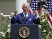 President Joe Biden speaks during an event in the Rose Garden of the White House in Washington, Monday, July 26, 2021, to highlight the bipartisan roots of the Americans with Disabilities Act and marking the law's 31st anniversary.