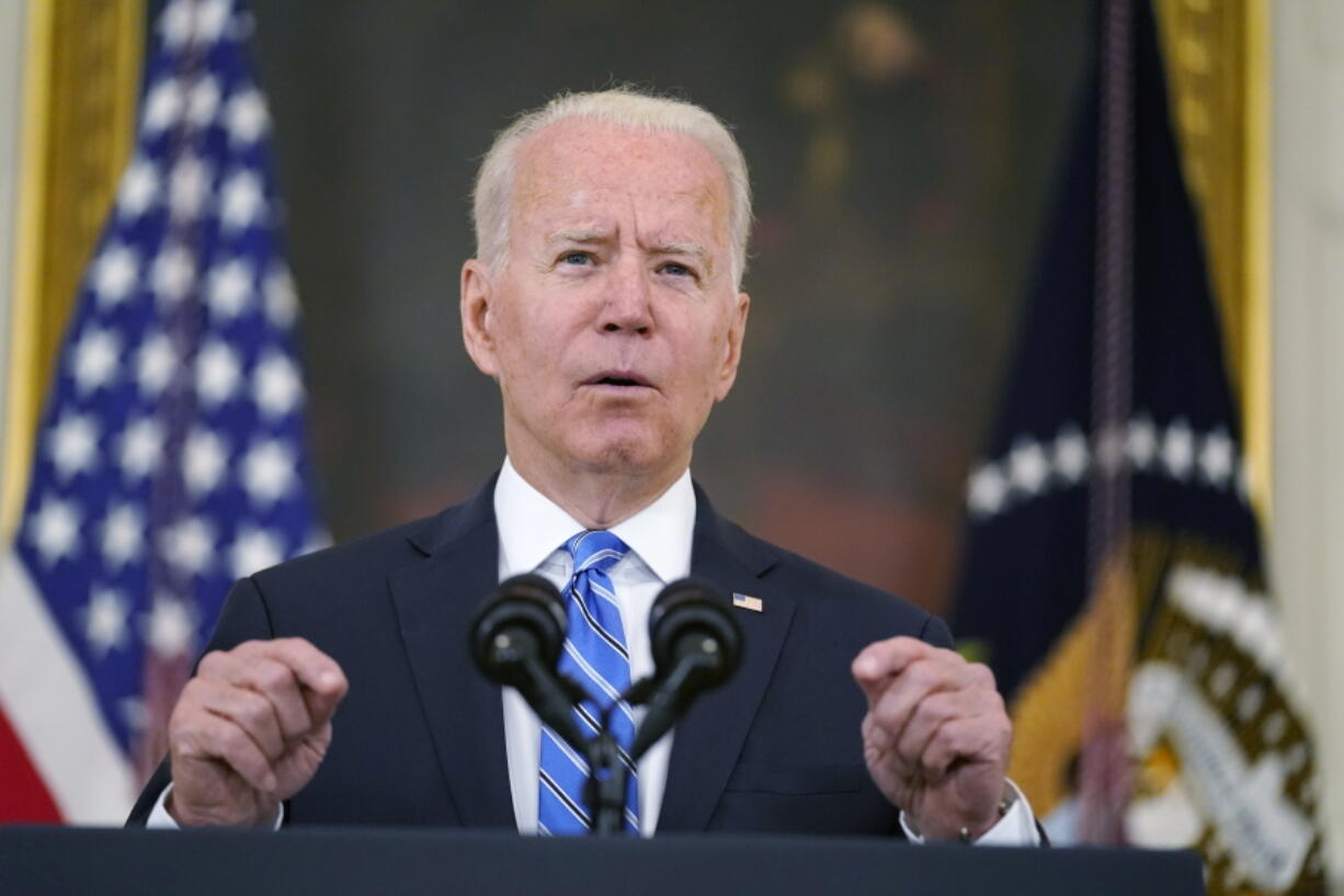 President Joe Biden speaks about the economy and his infrastructure agenda in the State Dining Room of the White House, in Washington, Monday, July 19th, 2021.