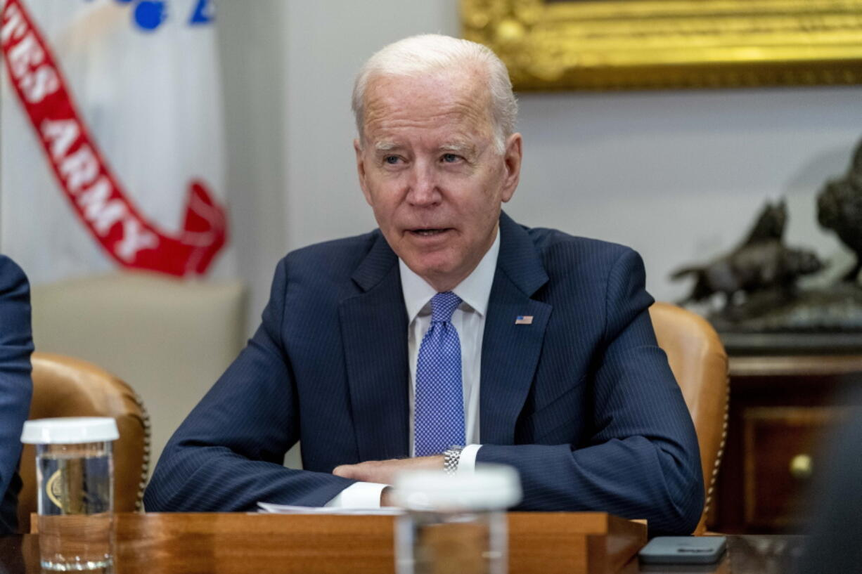 President Joe Biden speaks while meeting with union and business leaders to discuss the Bipartisan Infrastructure Framework, in the Roosevelt Room of the White House in Washington, Thursday, July 22, 2021.