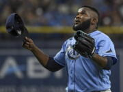Tampa Bay Rays closer Diego Castillo reacts after the final out of a win over the Toronto Blue Jays during a baseball game Saturday, July 10, 2021, in St.