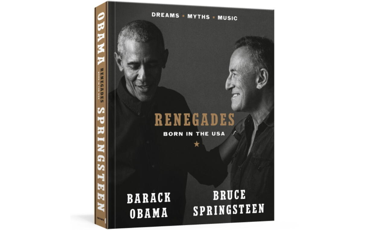 """This image provided by Crown shows the cover of """"Renegades: Born in the USA"""" by former President Barack Obama and musician Bruce Springsteen."""