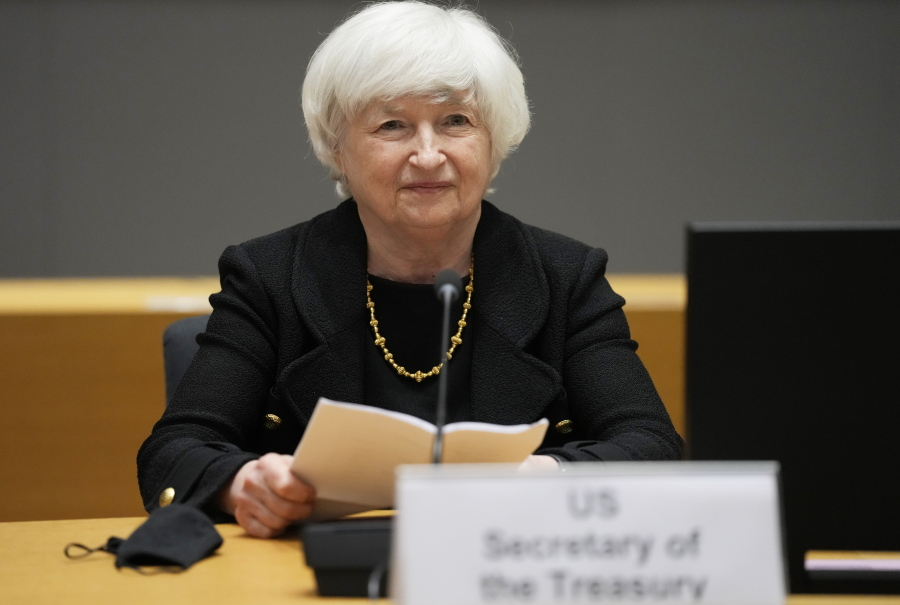 FILE - In this July 12, 2021 file photo, U.S. Treasury Secretary Janet Yellen prepares to speak during a meeting of eurogroup finance ministers at the European Council building in Brussels.  Yellen told Congress on Friday, July 23,  that she will start taking emergency measures next week to keep the government from an unprecedented default on the national debt.