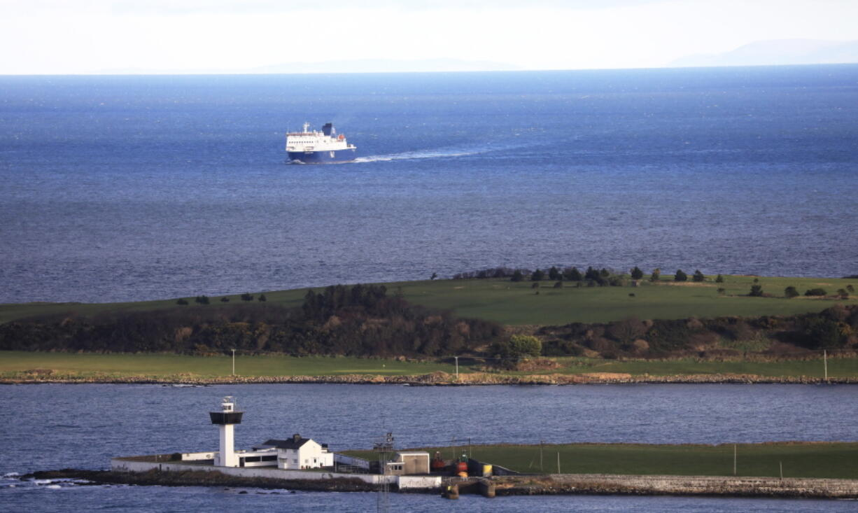 FILE - In this Jan. 1, 2021 file photo, a P&O ferry from Scotland crosses the Irish Sea making way towards the port at Larne on the north coast of Northern Ireland. Tense post-Brexit relations between Britain and the European Union face further strain on Wednesday, July 21, 2021, when the U.K. calls for major changes to trade rules agreed on by both sides, Brexit minister David Frost will set out proposals for smoothing trade arrangements for Northern Ireland, the only part of the U.K. that has a land border with the 27-nation bloc.
