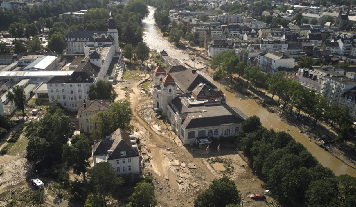 Damage and debris from flooding is near the Ahr River, including in the spa complex, Sunday, July 18, 2021, in Bad Neuenahr, Germany.