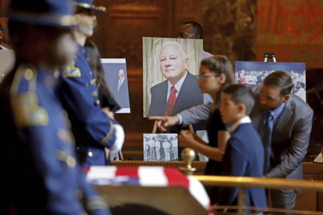 Former Louisiana Governor Edwin W. Edwards lies in state in Memorial Hall of the Louisiana State Capitol in Baton Rouge, La., Saturday, July 17, 2021. The colorful and controversial four-term governor died of a respiratory illness on Monday, July 12.