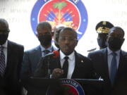 Haiti's interim Prime Minister Claude Joseph gives a press conference in Port-au-Prince, Friday, July 16, 2021, the week after the assassination of Haitian President  Jovenel Mo?se's on July 7.