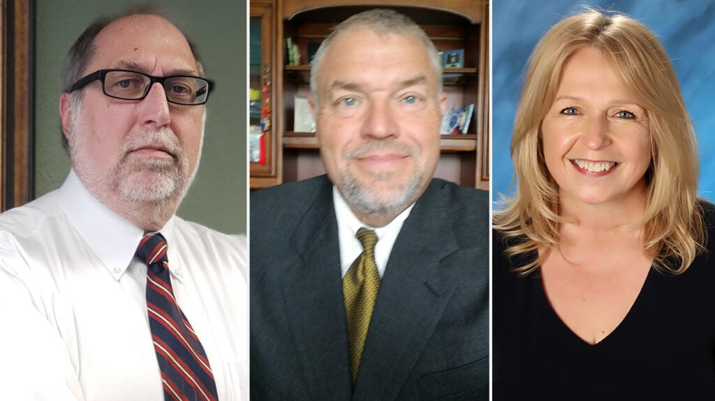 Bill Eling, from left, Tim Hawkins and Teresa VanNatta are candidates for the Hockinson School District board.
