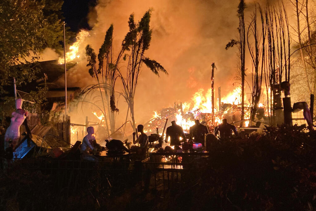A fire near Battle Ground at the site of a historic church may have been caused by fireworks, according to Clark-Cowlitz Fire Rescue.