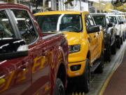 Model year 2021 Ford Ranger trucks on the assembly line at Michigan Assembly, Monday, June 14, 2021, in Wayne, Mich. Surging output of cars, trucks and auto parts pulled U.S. factory production up 0.9% in May. Adding utilities and mines, overall U.S. industrial production climbed 0.8% in May from April, the Federal Reserve reported Tuesday.