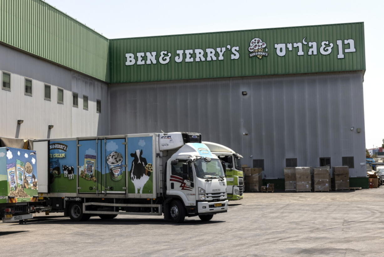 Trucks are parked Tuesday at the Ben & Jerry's ice cream factory in the Be'er Tuvia Industrial area, Israel.