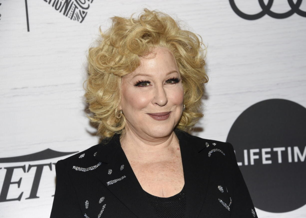 """FILE - In this April 5, 2019, file photo Bette Midler attends Variety's Power of Women: New York in New York. The Kennedy Center Honors is returning in December with a class that includes Motown Records creator Berry Gordy, """"Saturday Night Live"""" mastermind Lorne Michaels and actress-singer Bette Midler. Organizers expect to operate at full capacity, after last year's Honors ceremony was delayed for months and later conducted under intense COVID-19 restrictions."""