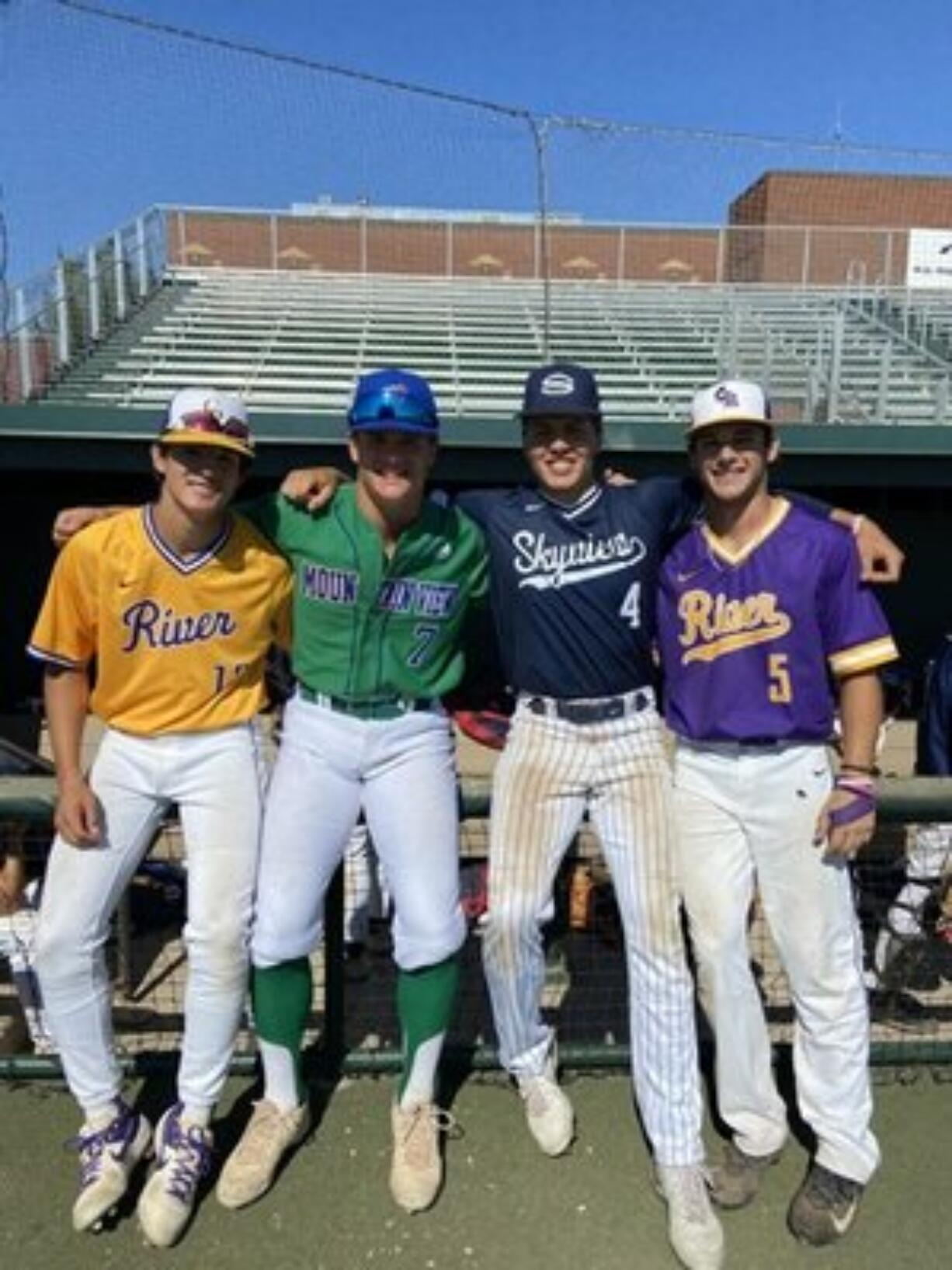 From left, Columbia River's Sawyer Parkin, Mountain View's Riley McCarthy, Skyview's Kyle Olson and Columbia River's Nick Alder played for Team Adams at the Washington Senior All-State series in Yakima on July 10-11.