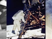"""President John F. Kennedy appears in a motorcade with his wife Jacqueline Kennedy in Dallas on Nov. 22, 1963, left, astronaut Edwin E. Aldrin, Jr., descends steps of Lunar Module ladder as he prepares to walk on the moon on July 20, 1969, center, and smoke billows from the north tower of New York's World Trade Center on Sept. 11, 2001 after terrorists crashed two hijacked airliners into the World Trade Center.  A new podcast based on Joe Garner's 1998 book, """"We Interrupt This Broadcast,"""" narrated by Brian Williams, will be available on July 20. Episodes in the first season explore the Sept. 11, 2001 attacks, John F. Kennedy's assassination and the moon landing."""