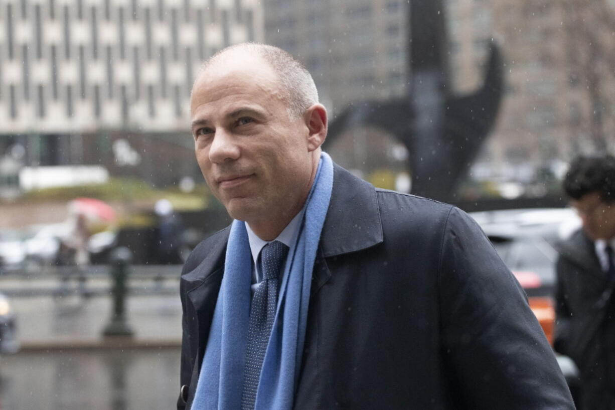 FILE - In this Dec. 17, 2019, file photo, attorney Michael Avenatti arrives at federal court in New York. Avenatti, the brash lawyer recently sentenced to 2 1/2 years in prison in a $25 million extortion case in New York, is expected to face a trial in California, Wednesday, July 21, 2021, on charges he embezzled millions from his clients.