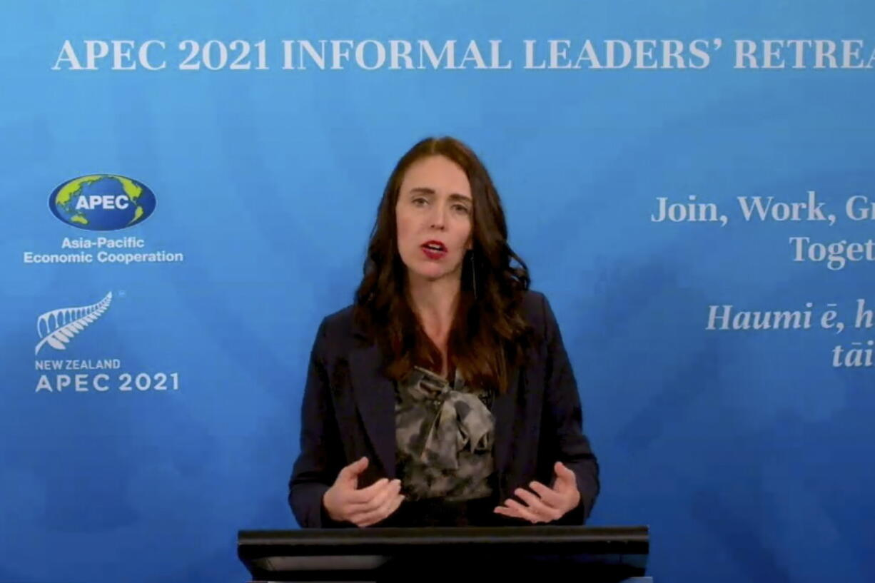 In this image from video, New Zealand Prime Minister Jacinda Ardern, APEC 2021 chair, speaks during a news conference in Wellington, New Zealand, on Saturday, July 17, 2021, about the Informal Leaders' Retreat virtual conference.
