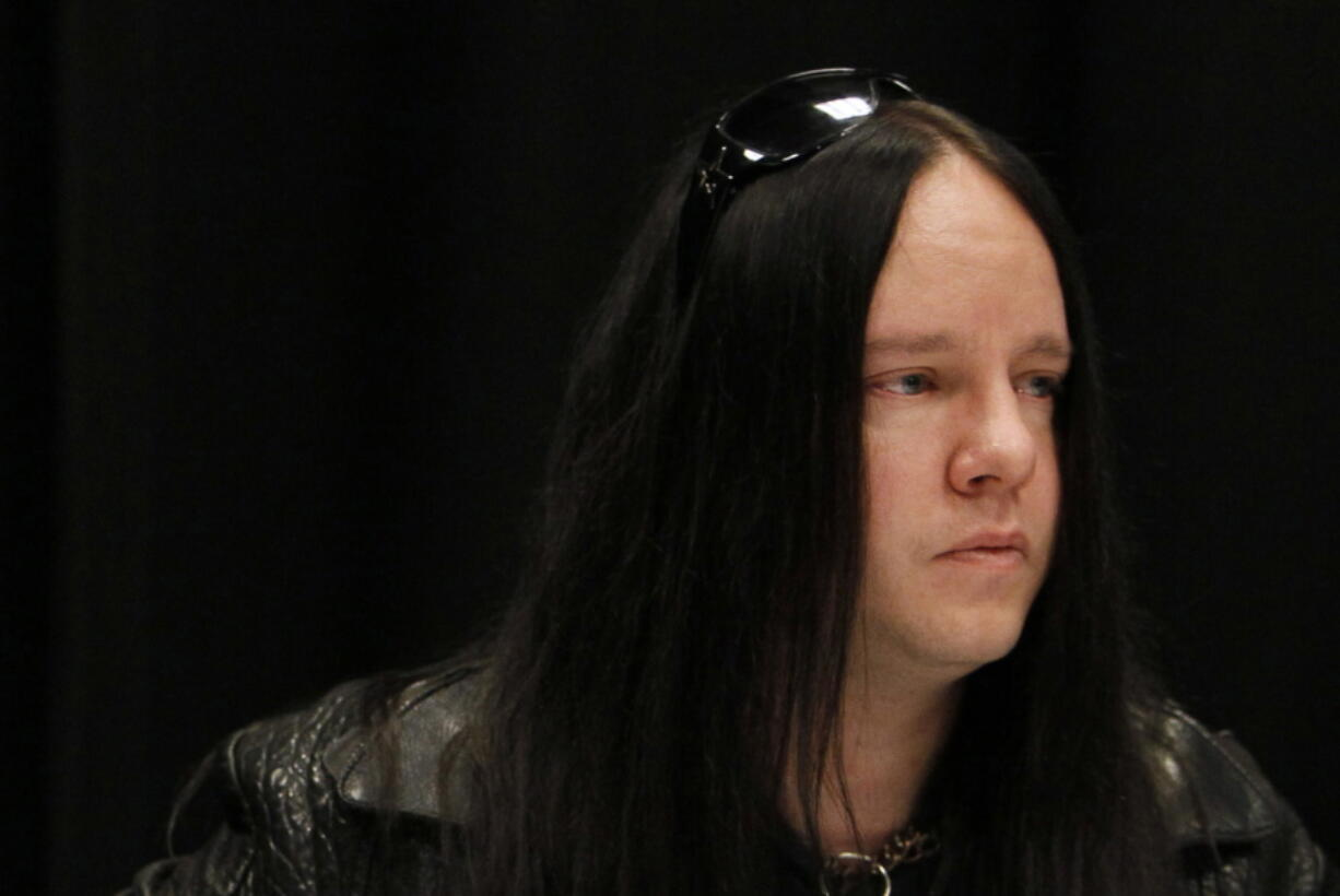 FILE - Slipknot band member Joey Jordison participates in a news conference about the death of bassist Paul Gray on May 25, 2010, in Des Moines, Iowa. Jordison, the founding drummer of the band Slipknot, has died at age 46. Jordison's family says he died peacefully in his sleep Monday, July 26, 2021.