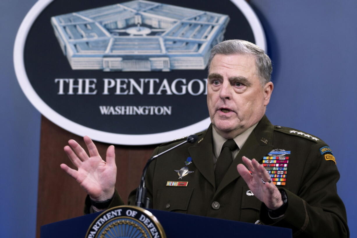 Joint Chiefs Chairman Gen. Mark Milley speaks at a press briefing at the Pentagon, Wednesday, July 21, 2021 in Washington.
