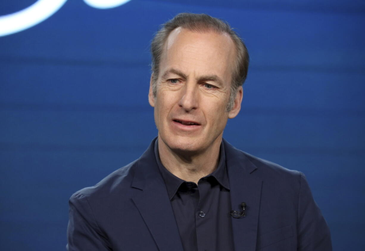 """FILE - In this Jan. 16, 2020, file photo, Bob Odenkirk speaks at the AMC's """"Better Call Saul"""" panel during the AMC Networks TCA 2020 Winter Press Tour in Pasadena, Calif. Odenkirk collapsed on the show's New Mexico set Tuesday, July 27, 2021, and had to be hospitalized. Crew members called an ambulance that took the 58-year-old actor to a hospital, where he remained Tuesday night, a person close to Odenkirk who was not authorized to speak publicly on the matter told The Associated Press."""