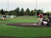 Ridgefield Raptors pitcher Brock Gillis delivers to a Walla Walla batter on Saturday at Ridgefield Outdoor Recreation Complex.