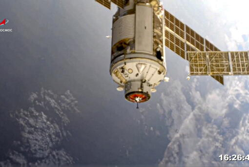 In this photo provided by Roscosmos Space Agency Press Service, the Nauka module is seen prior to docking with the International Space Station on Thursday, July 29, 2021. Russia's long-delayed lab module successfully docked with the International Space Station on Thursday, eight days after it was launched from the Russian space launch facility in Baikonur, Kazakhstan. The 20-metric-ton (22-ton) Nauka module, also called the Multipurpose Laboratory Module, docked with the orbiting outpost after a long journey and a series of manoeuvres.