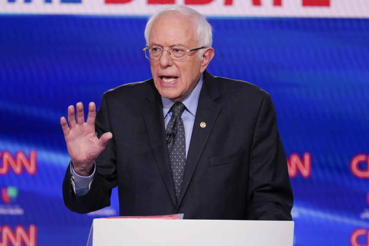 FILE - In this March 15, 2020, file photo, Sen. Bernie Sanders, I-Vt., participates in a Democratic presidential primary debate at CNN Studios in Washington. The progressive advocacy group Our Revolution is rebranding now that Bernie Sanders is no longer the undisputed leader of the left.