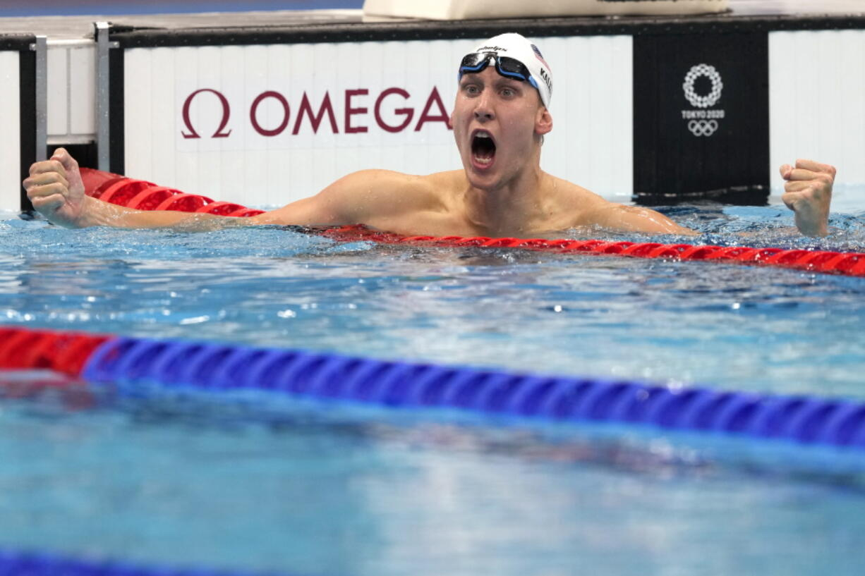 Chase Kalisz, of the United States, celebrates winning the final of the men's 400-meter individual medley at the 2020 Summer Olympics, Sunday, July 25, 2021, in Tokyo, Japan.