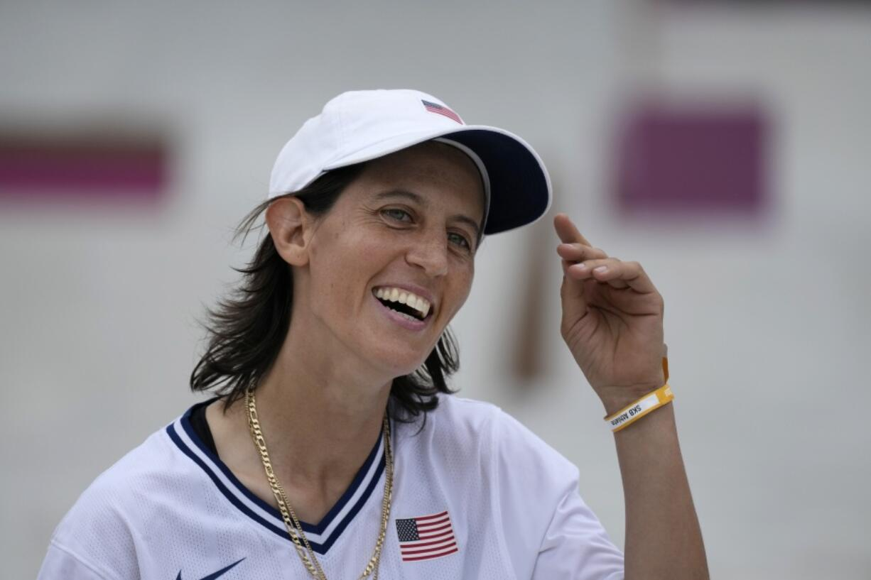 Alexis Sablone of the United States smiles July 26 during the women's street skateboarding finals at the 2020 Summer Olympics in Tokyo. The Tokyo Games are shaping up as a watershed for LGBTQ Olympians.