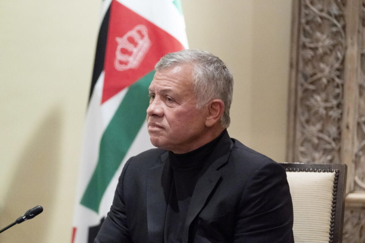 FILE - In this May 26, 2021 file photo, Jordan's King Abdullah II listens during a meeting with Secretary of State Antony Blinken, in Amman, Jordan.