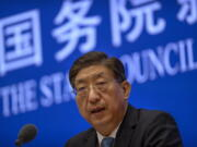 Zeng Yixin, Vice Minister of China's National Health Commission, speaks at a press conference at the State Council Information Office in Beijing, Thursday, July 22, 2021. Zeng said Thursday he was taken aback by the World Health Organization's plan for the second phase of a COVID-19 origins study.