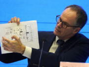 FILE - In this Feb. 9, 2021, file photo, Peter Ben Embarek of the World Health Organization team holds up a chart showing pathways of transmission of the virus during a joint news conference at the end of the WHO mission in Wuhan in central China's Hubei province. As the World Health Organization draws up plans for the next phase of its probe of how the coronavirus pandemic started, an increasing number of scientists say the U.N. agency it isn't up to the task and shouldn't be the one to investigate.