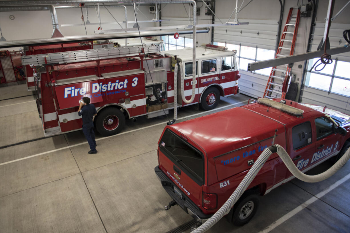 Clark County Fire District 3 serves about 40,000 residents from five stations. Station 31 in Hockinson, seen here, houses three engines and several auxiliary units.