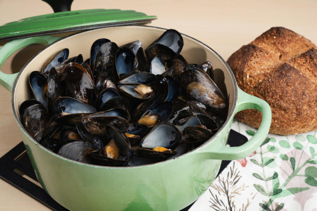 Mussels steamed in white wine.