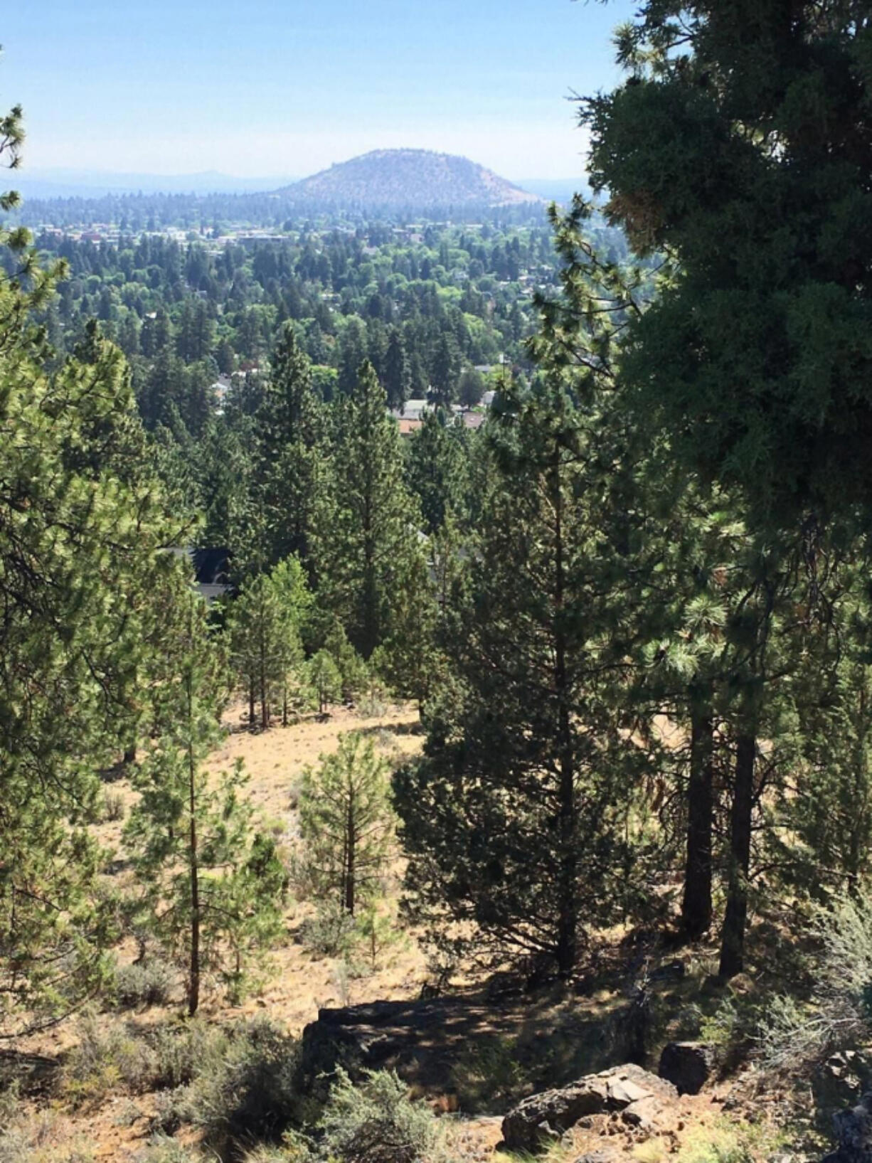Pilot Butte as seen from the top of Overturf Butte, located on Bend's west side.