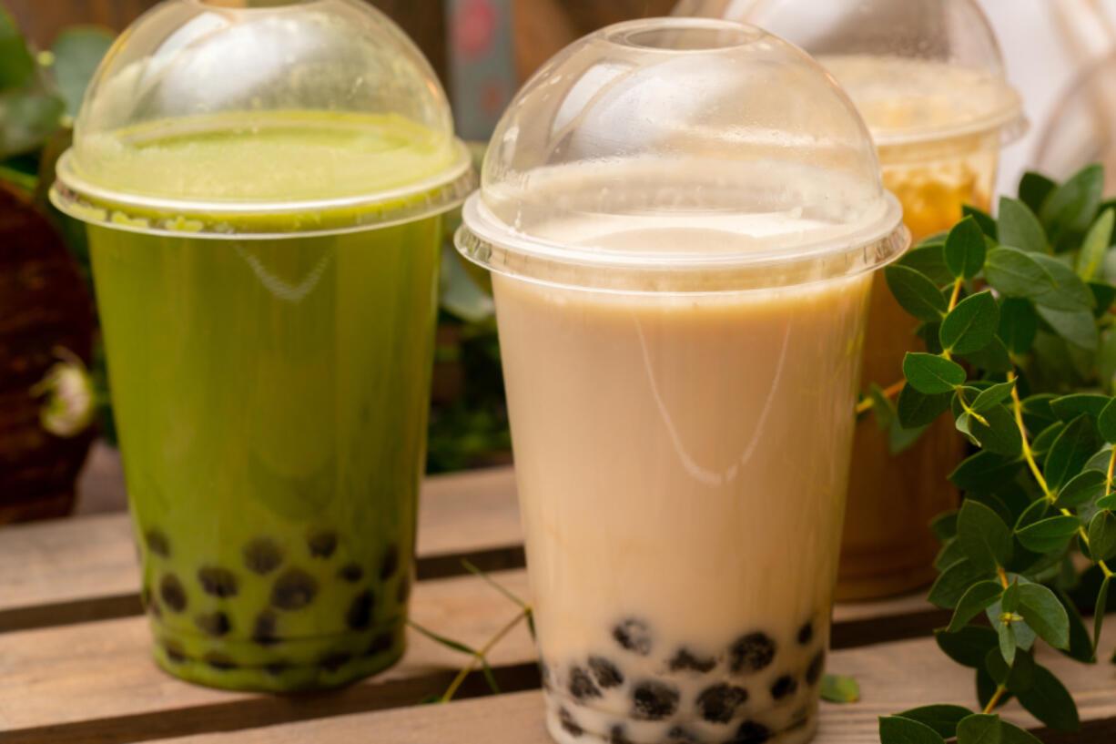 Coconut and green matcha bubble tea