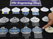 The current lineup of employee name badges include varieties that are themed to Star Wars: Galaxy's Edge at Disney's Hollywood Studios, in California.