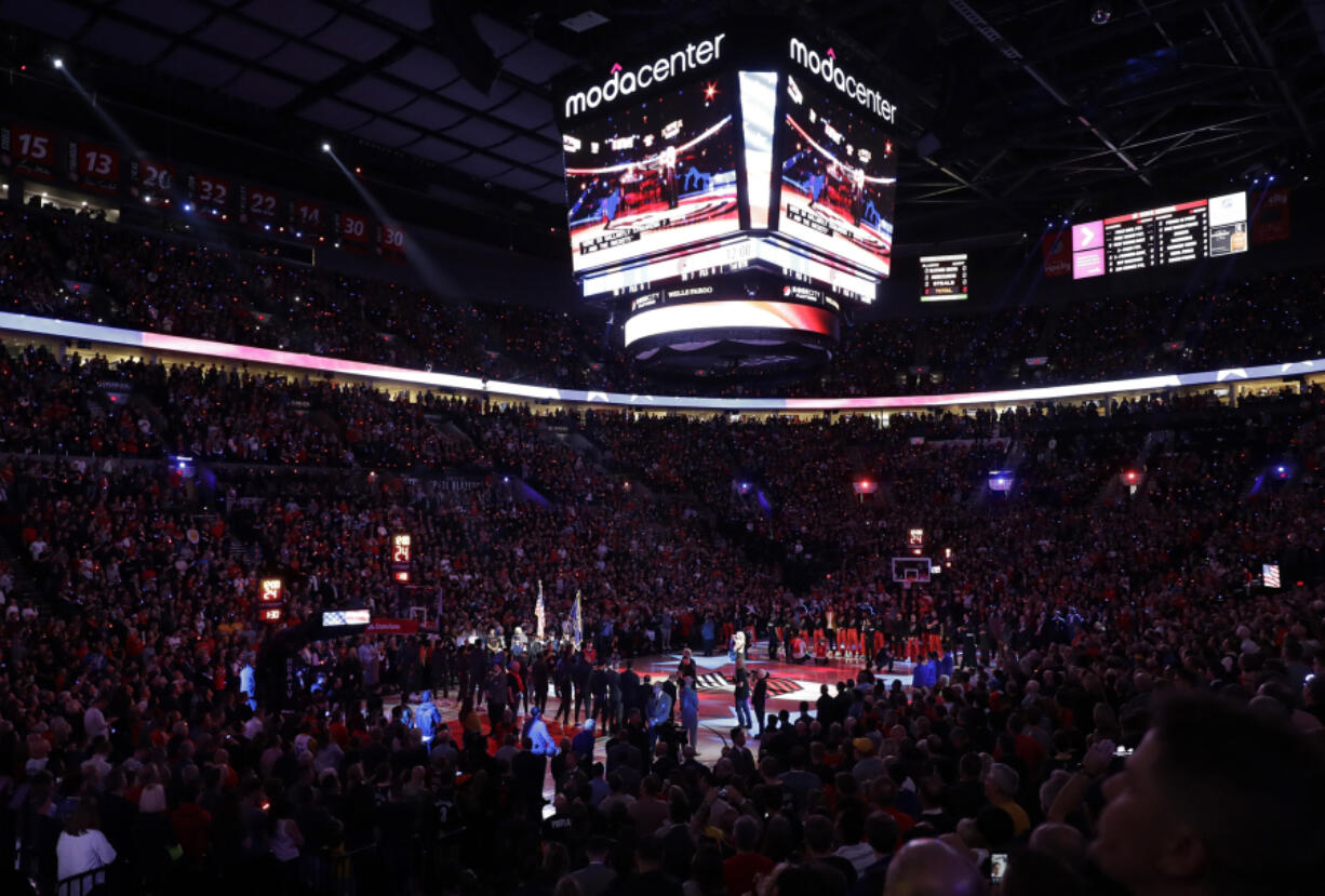The Portland Trail Blazers will open the 2021-22 season with their first two games at home in the Moda Center. The Blazers will play the Sacramento Kings on Oct. 20 and then the defending Western Conference champion Phoenix Suns on Oct. 23.  (AP Photo/Ted S.